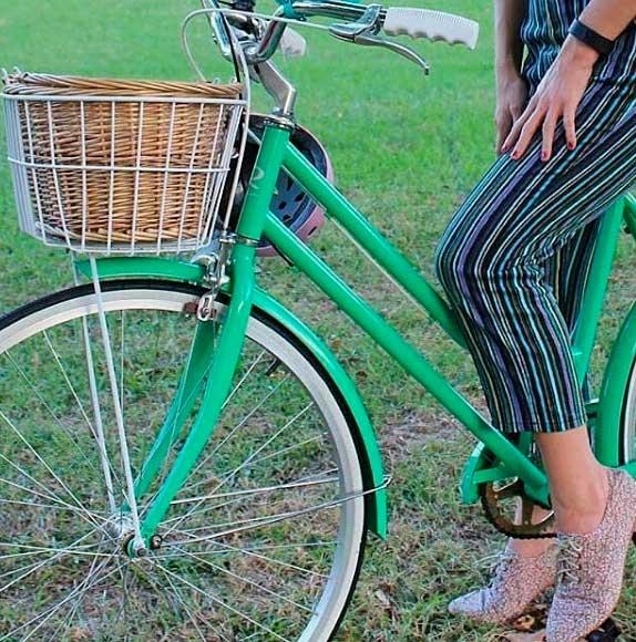 cestas de mimbre para bicicletas de paseo