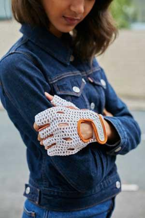 guantes vintage retro y ganchillo de ciclismo