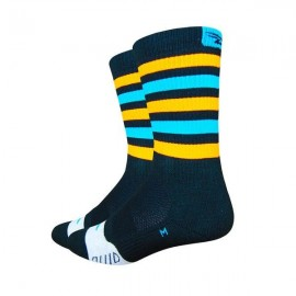Calcetines Defeet Thermeator 6″ Black, Blue & Orange Stripes