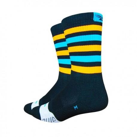 Calcetines Defeet Thermeator 6″ Black, Blue & Orange Stripes